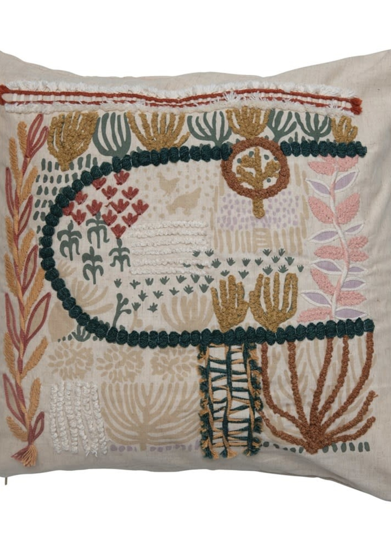 Square Cotton Blend Pillow w/ Embroidery, Multi Color