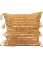 Square Cotton Woven Pillow w/ Appliqued Stripes & Tassels, Mustard Color & White