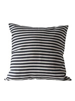 Square Cotton Woven Striped Pillow, Black