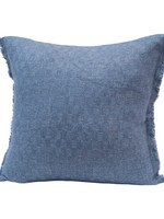 Square Woven Cotton Blend Jacquard Pillow w/ Check Pattern & Frayed Edges, Navy
