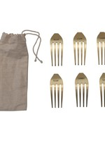 Stainless Steel Fork Cheese Markers, Brass Finish, Set of 6 in Drawstring Bag