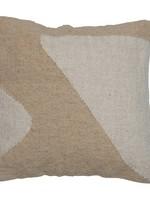 Square Woven Cotton & Wool Kilim Pillow, Cream Color & Beige