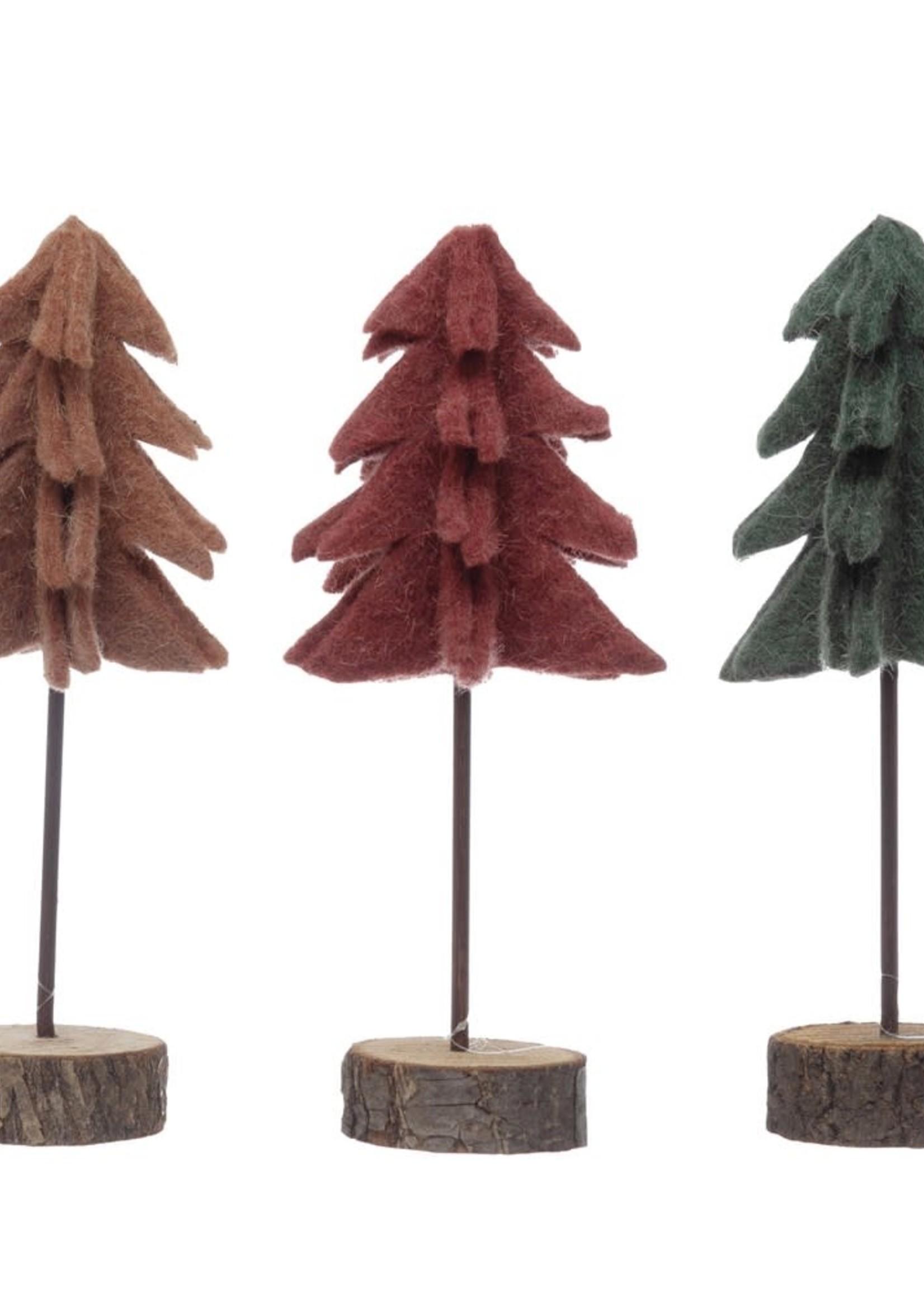 Felt Tree w/ Wood Slice Base, 3 Colors, Md