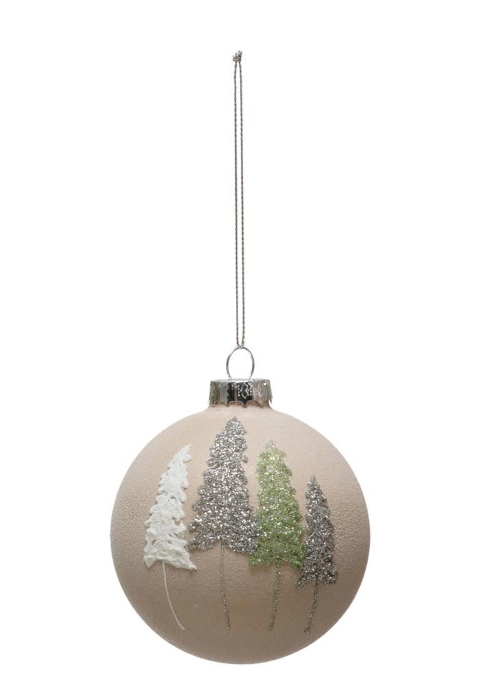Round Glass Ball Ornament w/ Glitter Trees, Multi Color