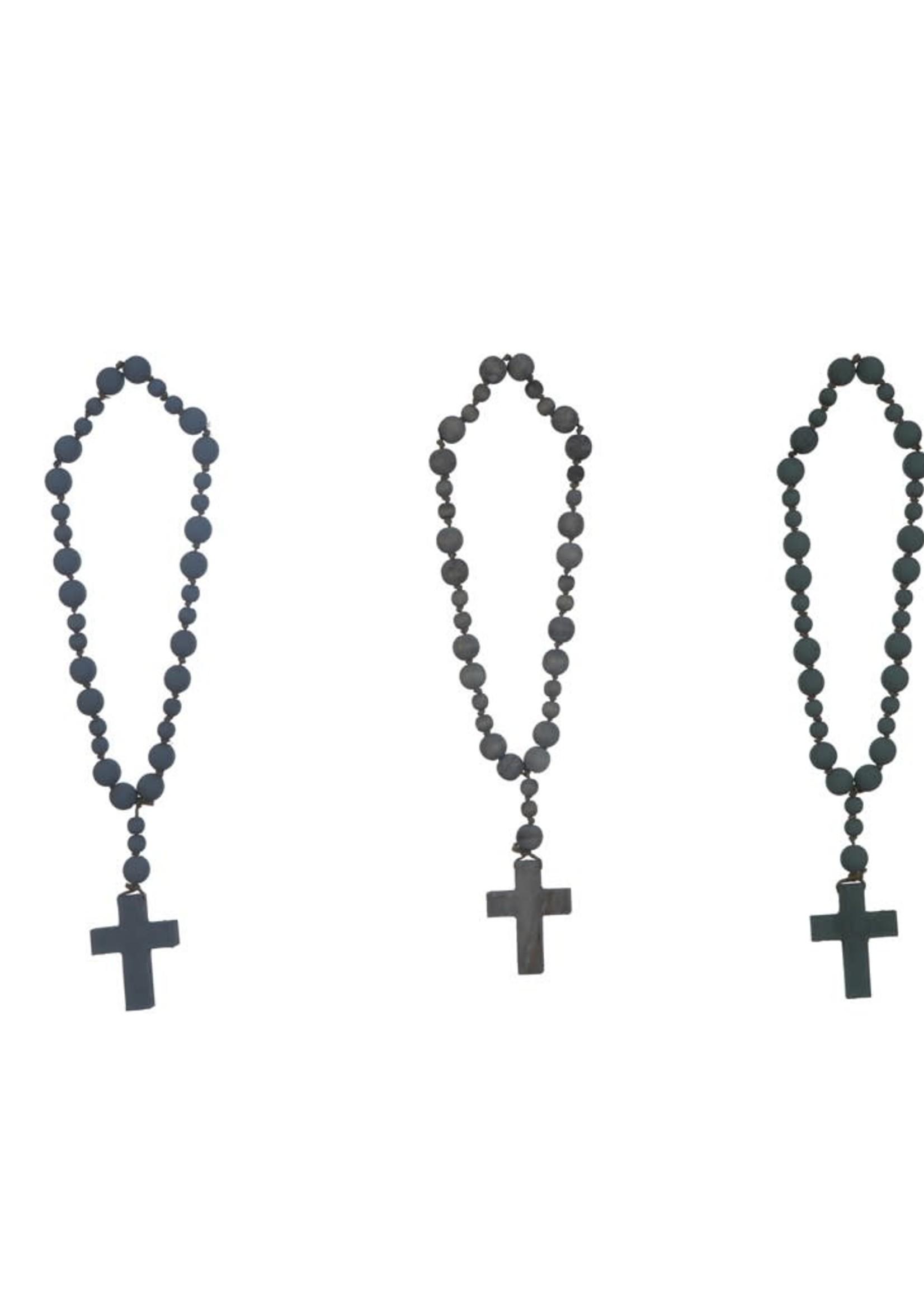 Wood Bead Rosary w/ Cross, 3 Colors