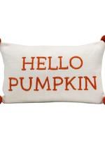 "Cotton Knit Lumbar Pillow w/ Embroidery & Pom Poms ""Hello Pumpkin"", Cream Color & Orange"