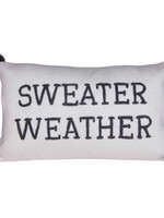 Rectangle Sweater Weather Embroidered Cotton Knit Lumbar Poms Pillows, Grey & Cream