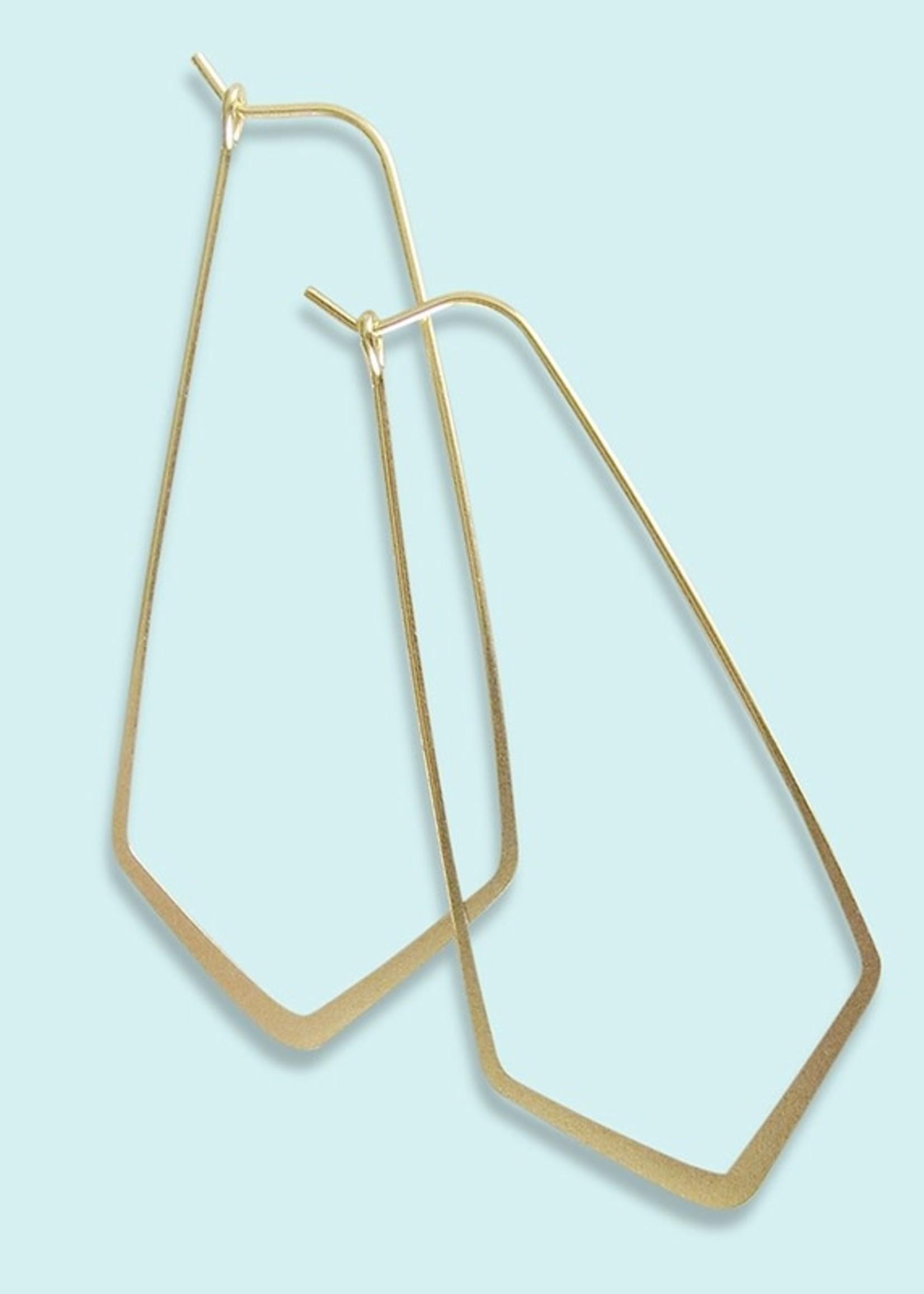 Elongated Diamond Hoop Earrings