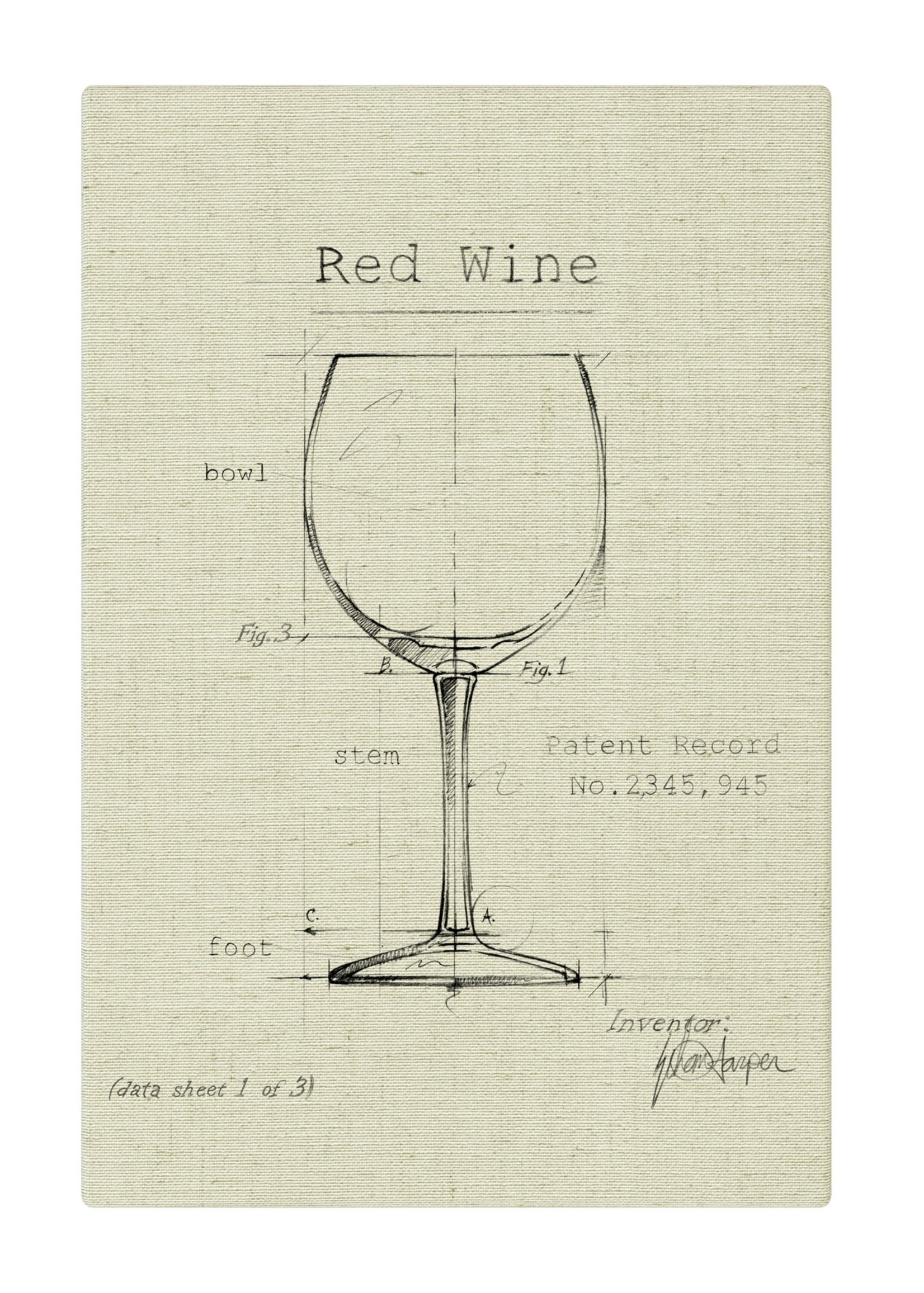 Barware Red Wine Fabric Gallery Wrapped Wall Art - Off White 12x18
