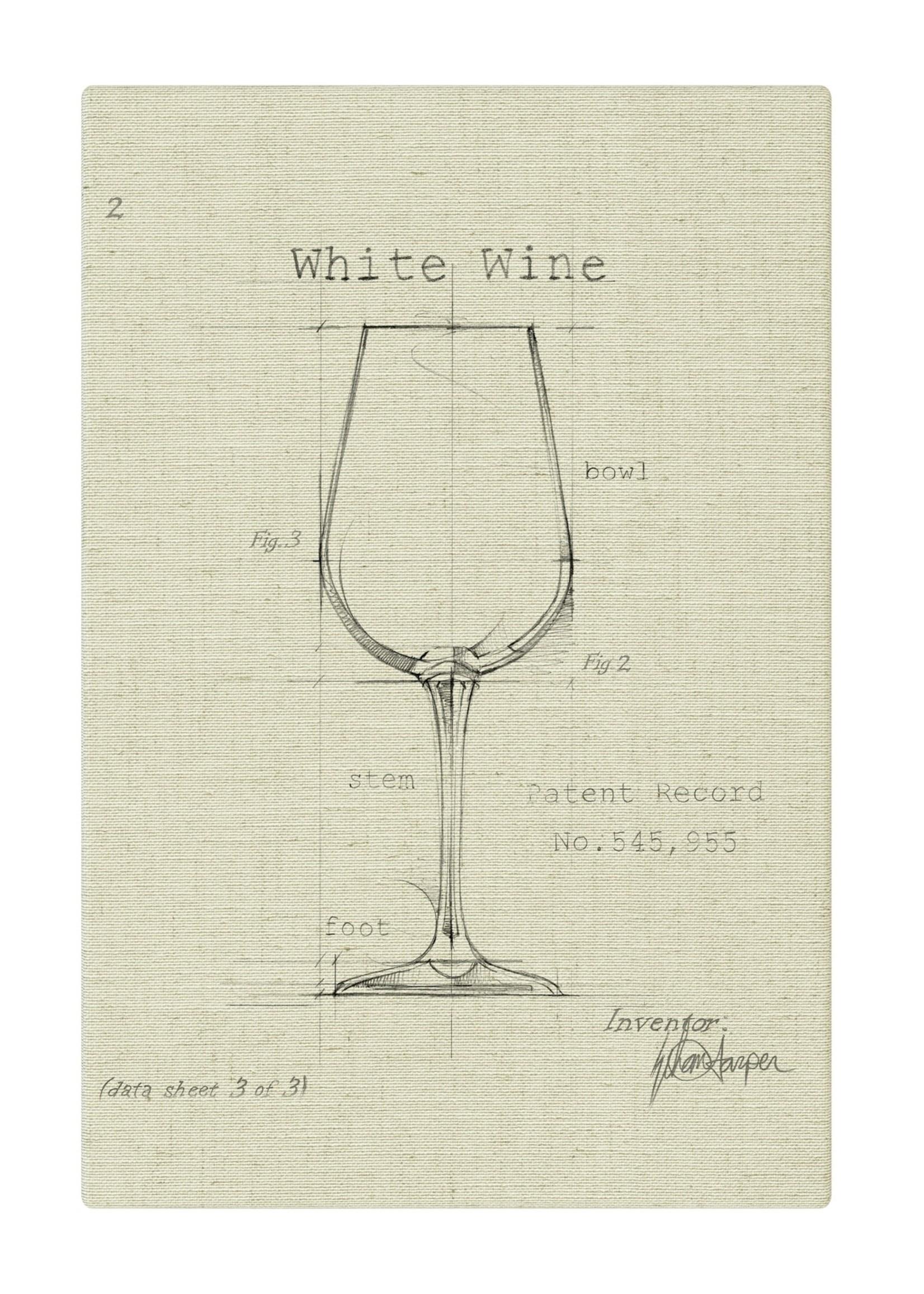 Barware White Wine Fabric Gallery Wrapped Art - Off White 12x18