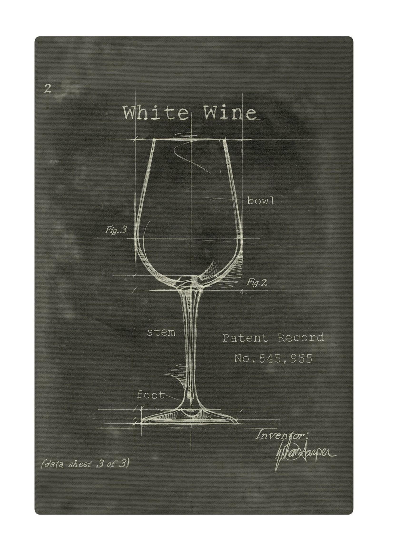 Barware White Wine Fabric Gallery Wrapped Wall Art 20x24