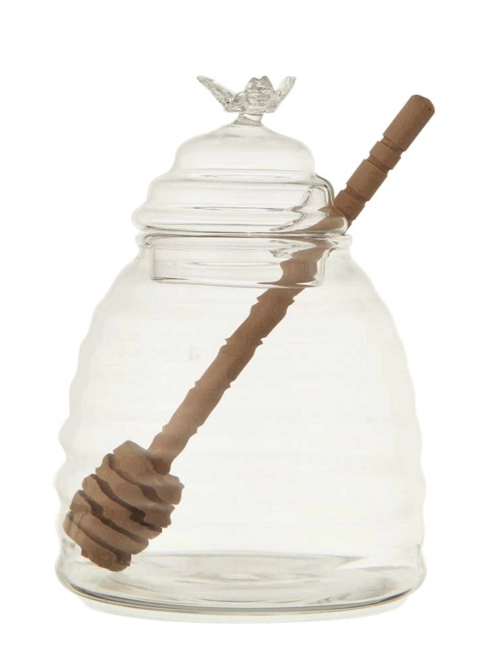 Glass Honey Jar w/ Wood Honey Dipper, Set of 2