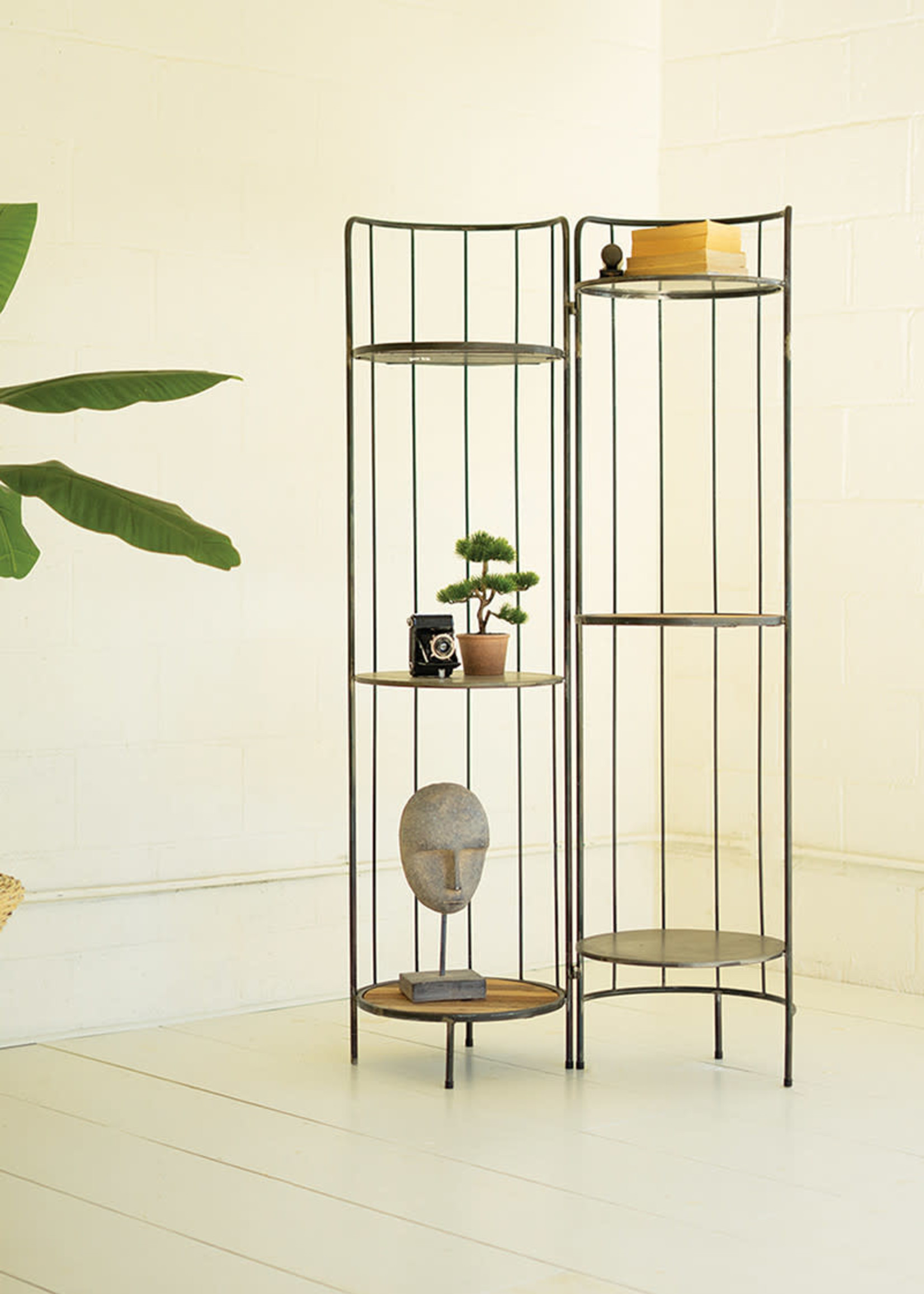 Hinged Tall Round Metal and Wood Display Shelving Unit