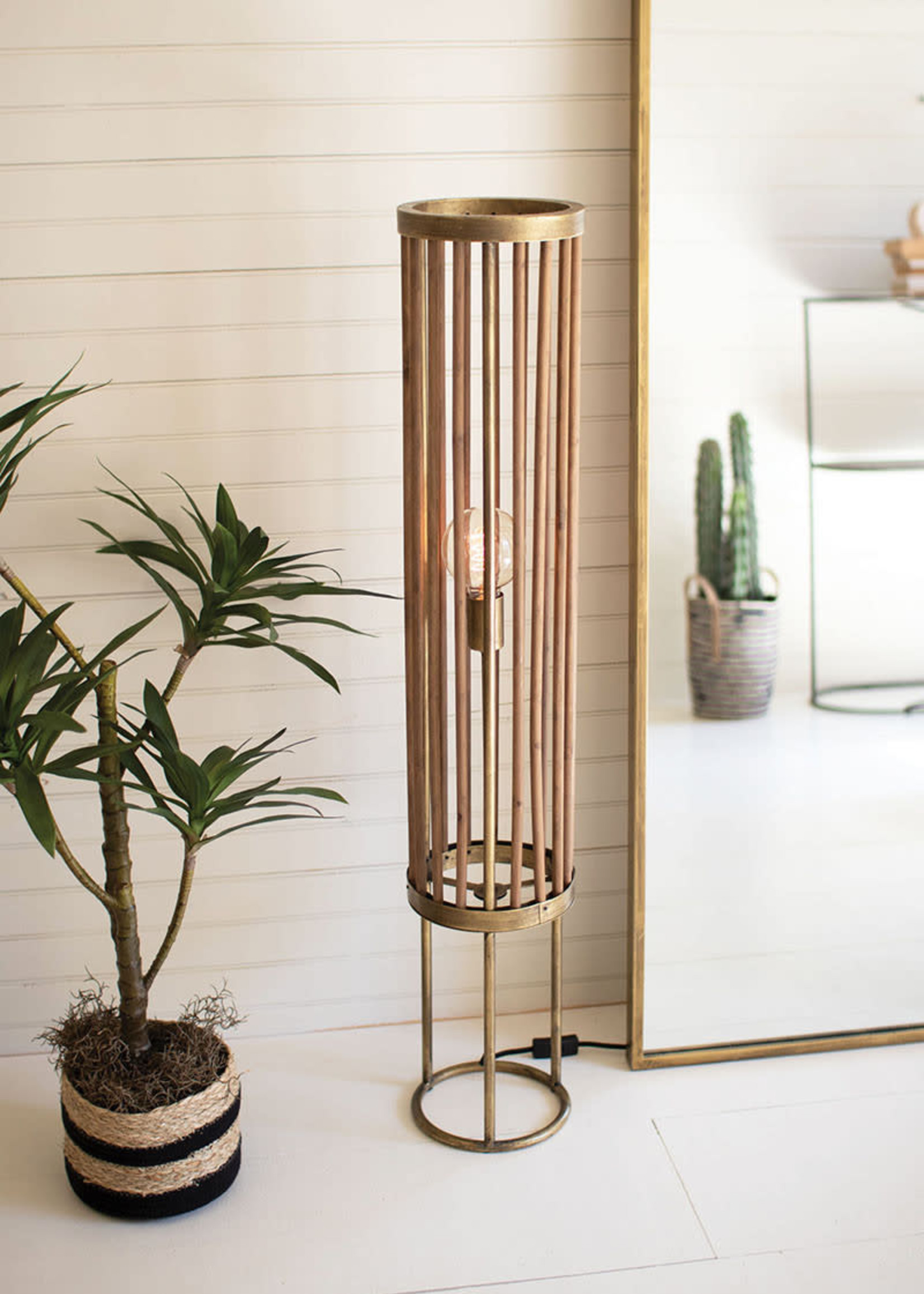 Round Brass and Wood Cylinder Table Lamp