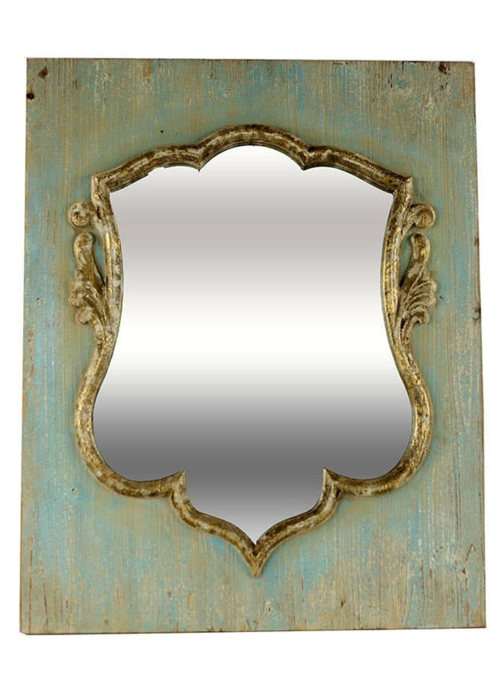 Distressed Wood Shield Mirror