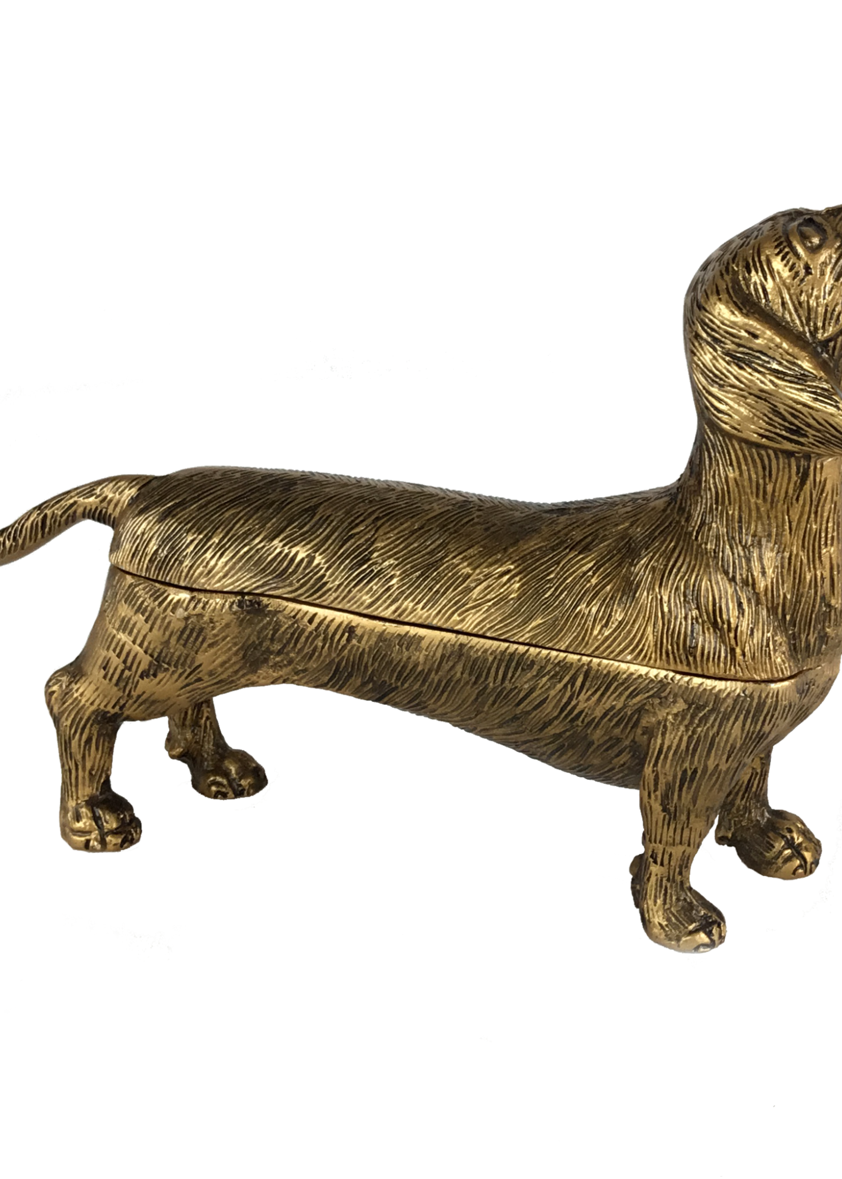 Metal Dog Box in Antique Brass Finish