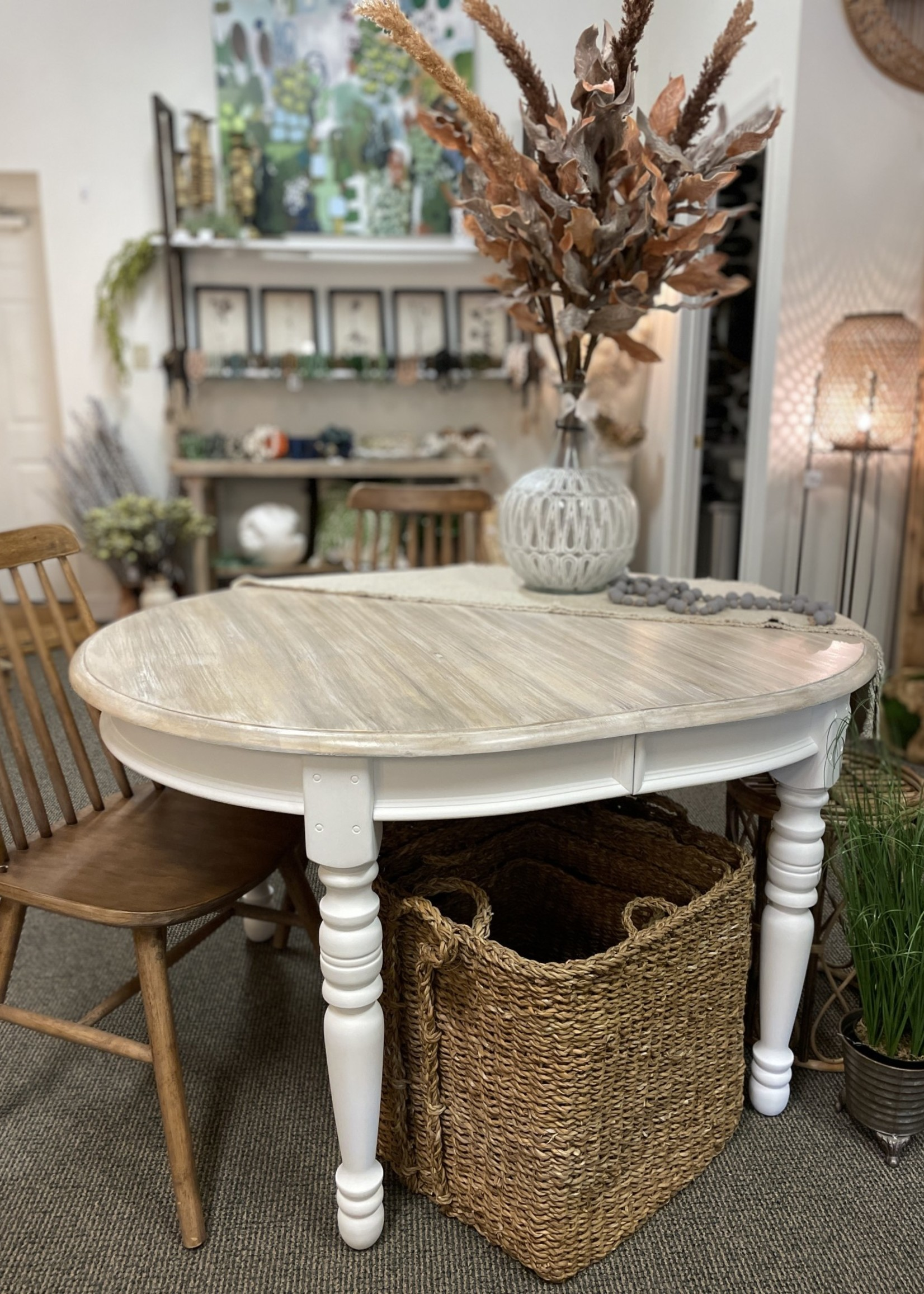 Hand Painted Oval Dining Table 53x42x30
