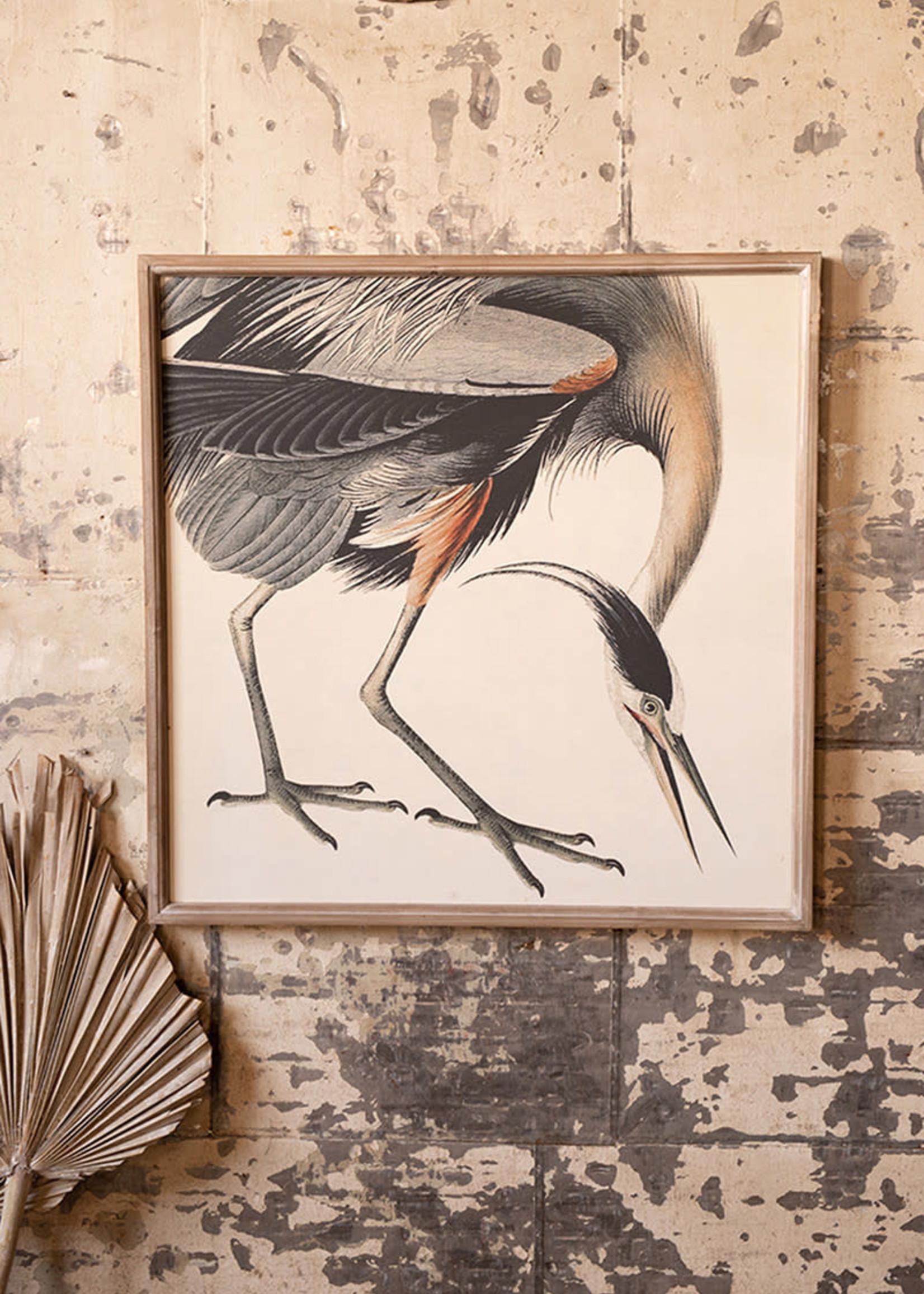Crane Print Under Glass