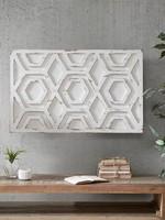Distressed Hexagon Farmhouse Wooden Wall Decor Accent