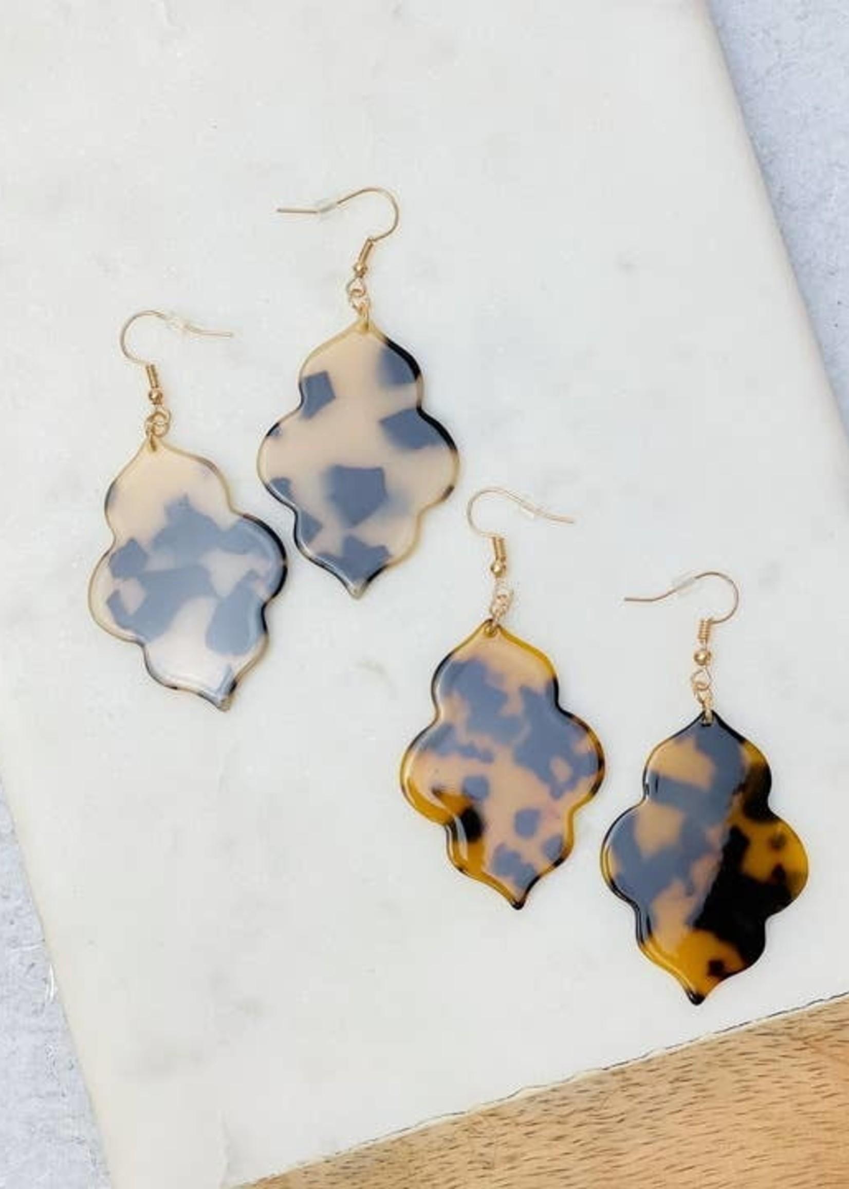 Acrylic Quatrefoil Dangle Earrings