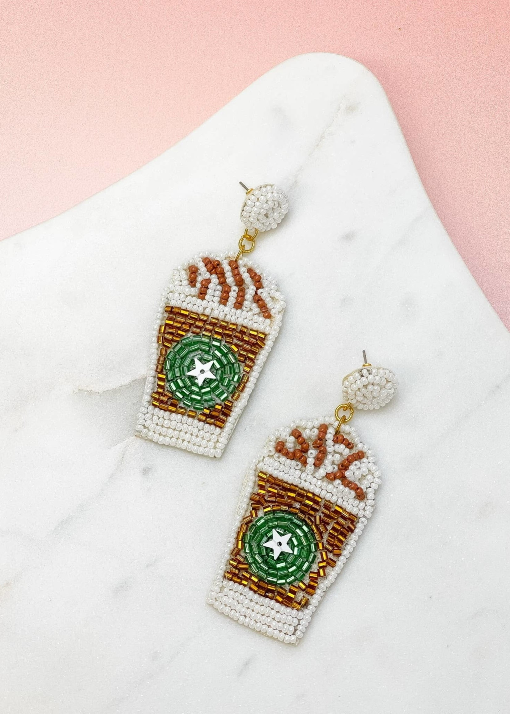 Frappe Coffee Beaded Dangles - White