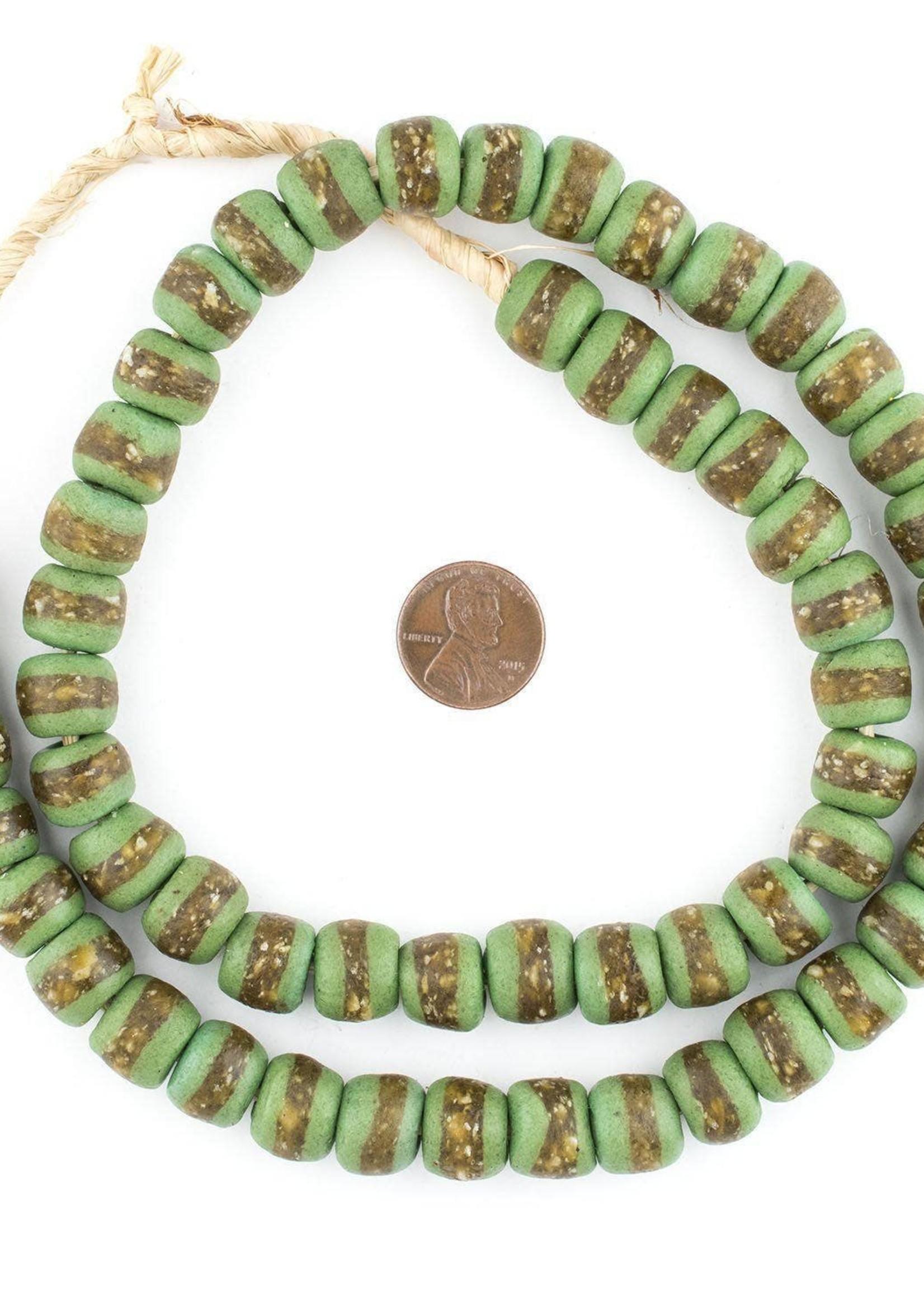 14mm Lime Green Kente Krobo Beads