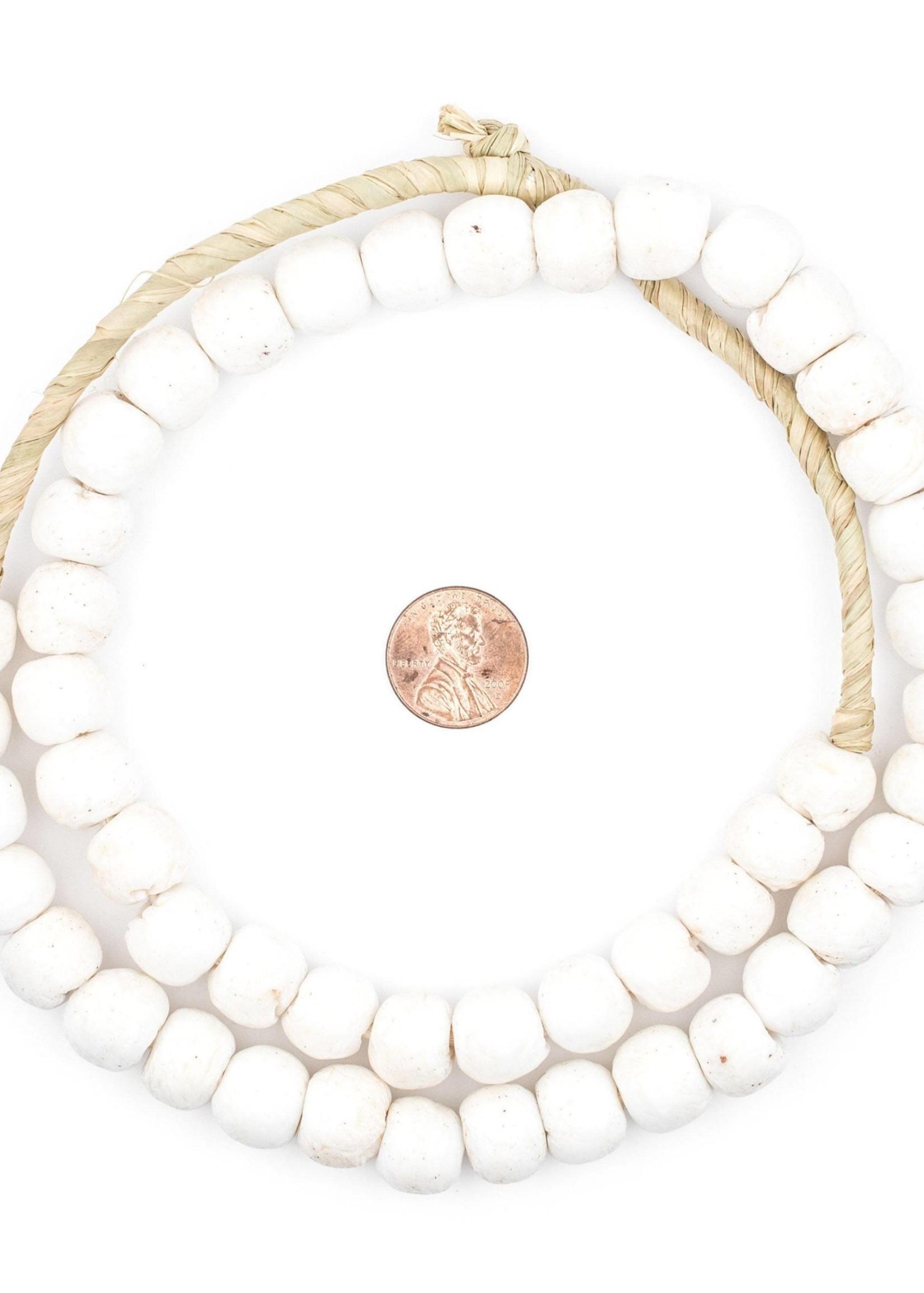 14mm White Round Sandcast Beads