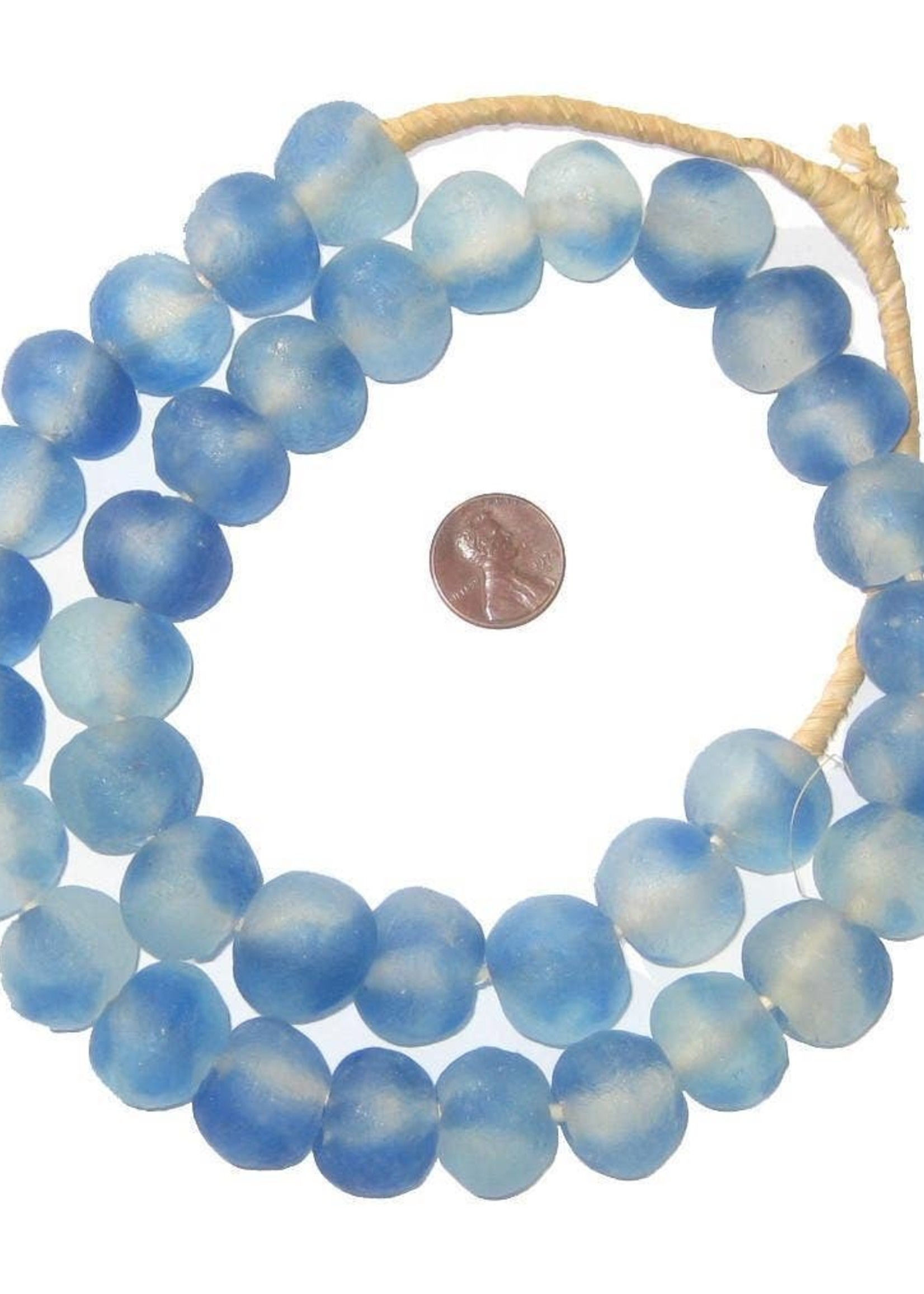 18mm Blue Swirl Recycled Glass Beads
