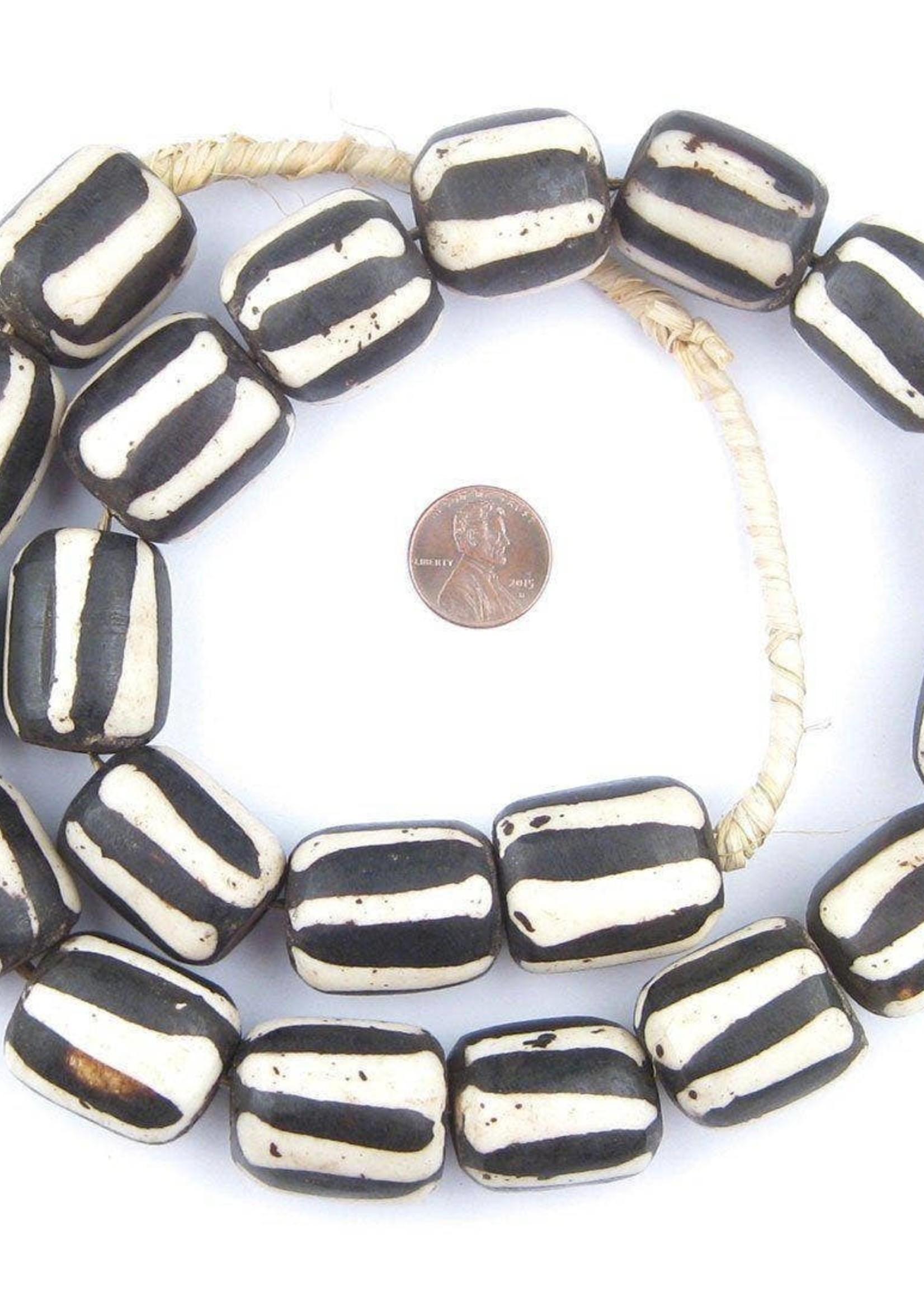 Barrel Zebra Batik Bone Beads