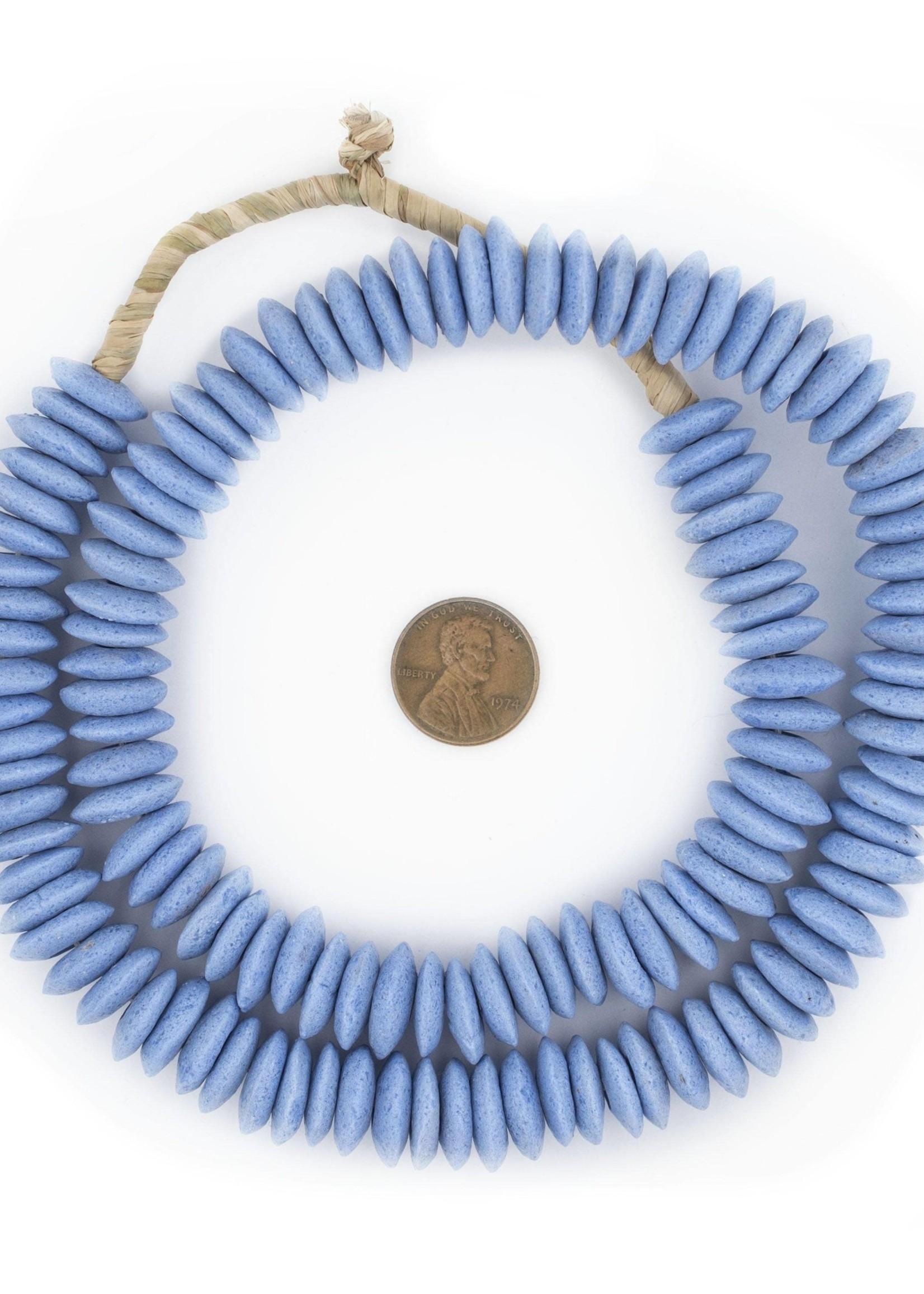 Carolina Blue Ashanti Glass Saucer Beads