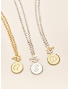 John Wind Toggle Sorority Gal Initial Necklaces Two-Tone A