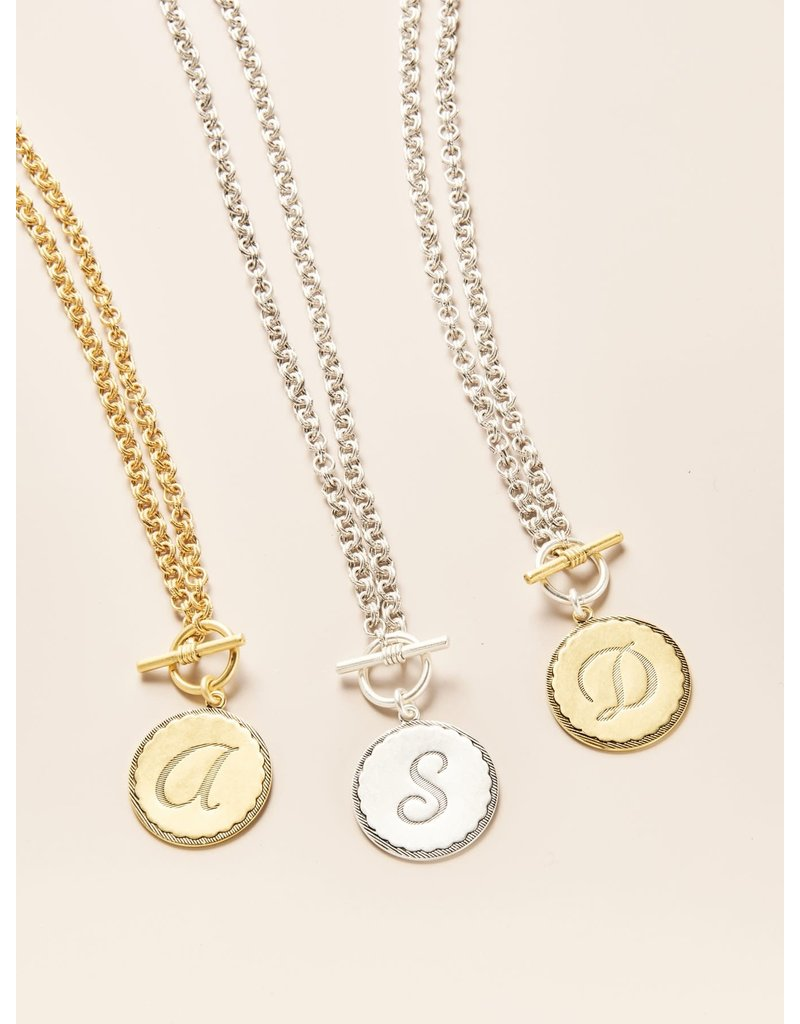John Wind Toggle Sorority Gal Initial Necklaces Two-Tone F