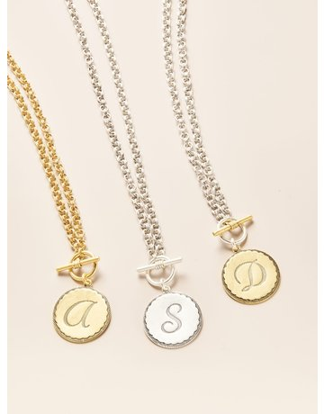 John Wind Toggle Sorority Gal Initial Necklaces Two-Tone V