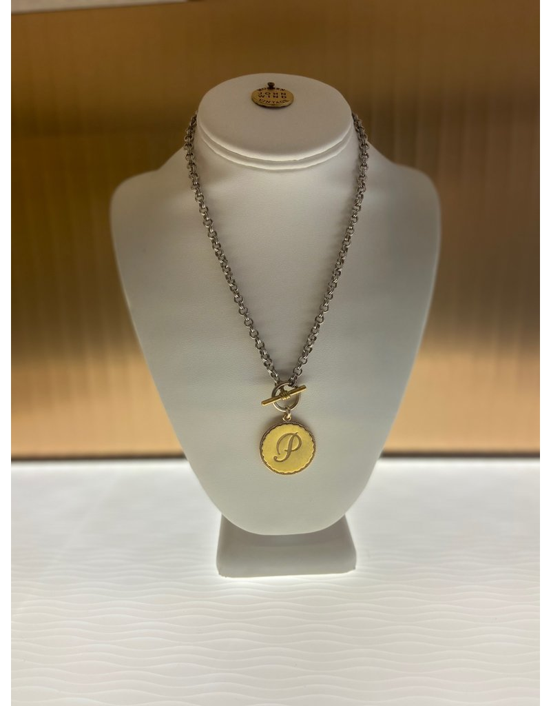 John Wind Toggle Sorority Gal Initial Necklaces Two-Tone P