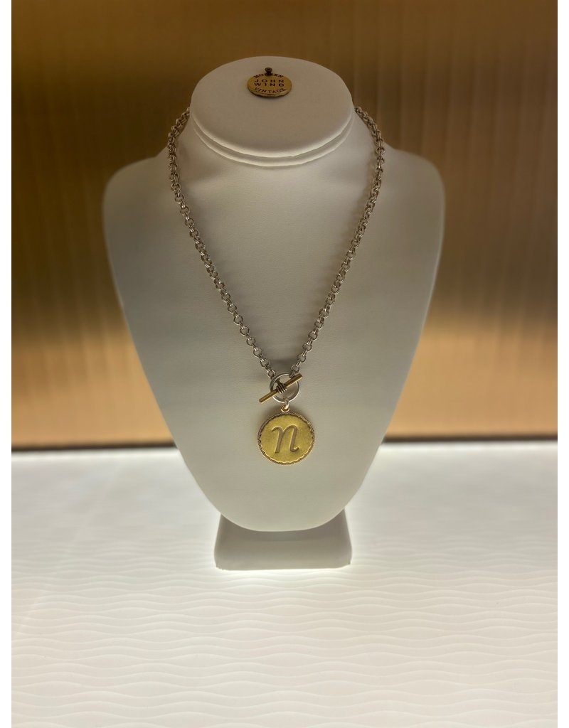 John Wind Toggle Sorority Gal Initial Necklaces Two-Tone N