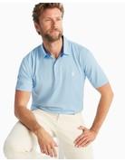 Johnnie-O Merrins Striped Prep-Formance Pique Polo Gulf Blue Small