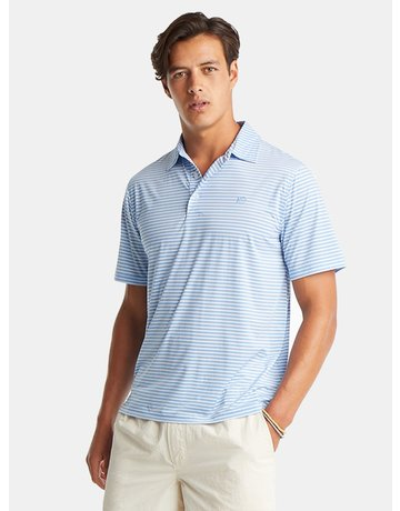 Southern Tide Bimini Striped Brrr Performance Polo Shirt Hurricane Blue Medium