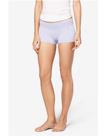 Tommy John Women's Cool Cotton Lace Waist Boyshort Purple Heather Large
