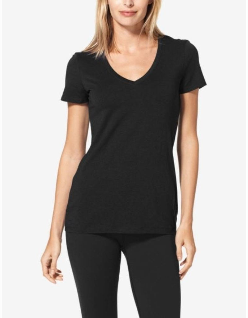 Tommy John Women's Second Skin V-Neck T-shirt Black Large