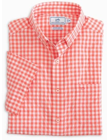 Southern Tide Mens SS IC Tropical Mist Gingham Sportshirt