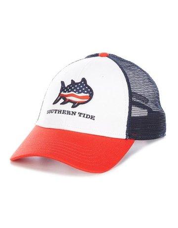 Southern Tide Mens Patriotic Wave Skipjack Trucker Hat
