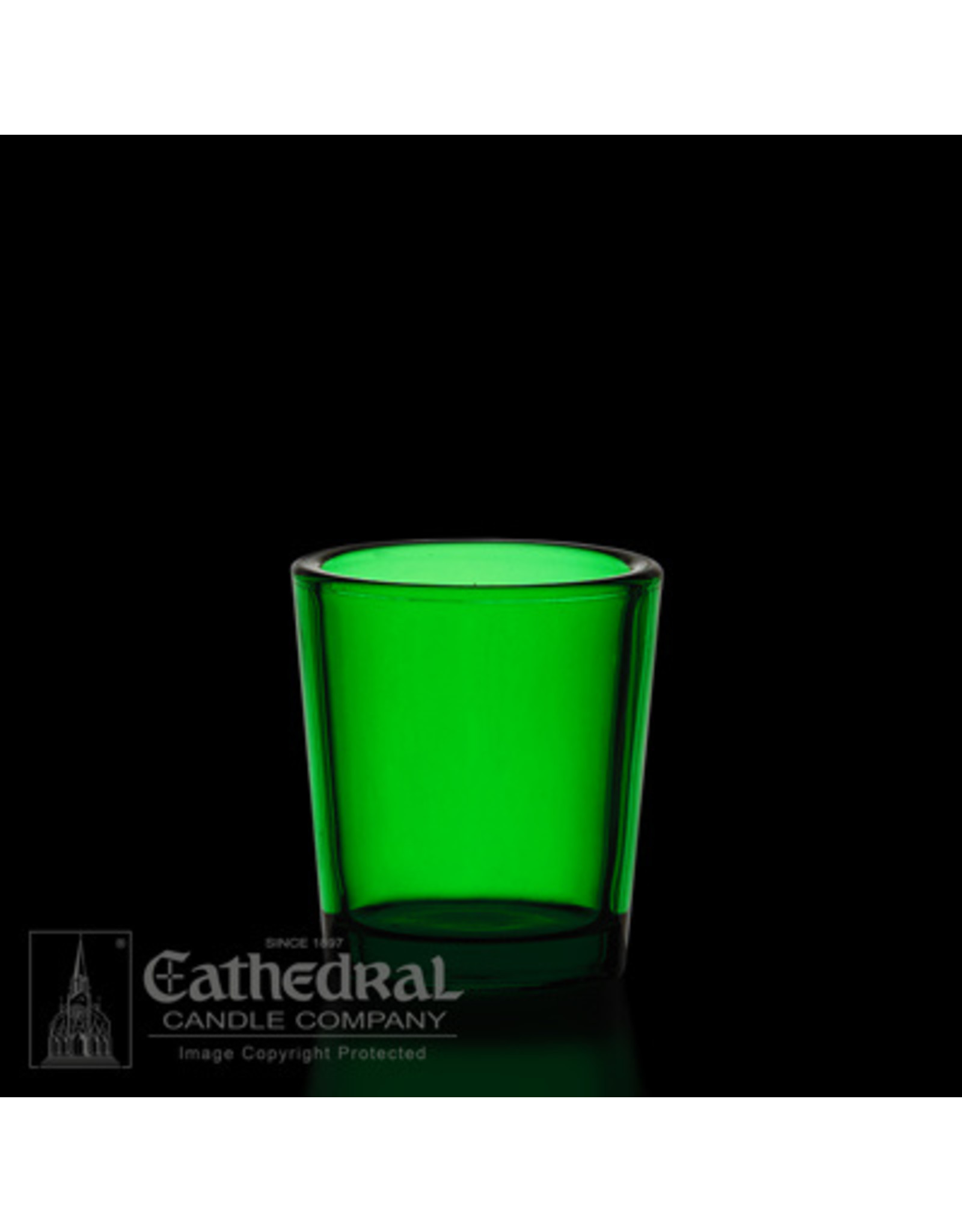 CNDL GLASS VOT 15 HR GREEN (12)