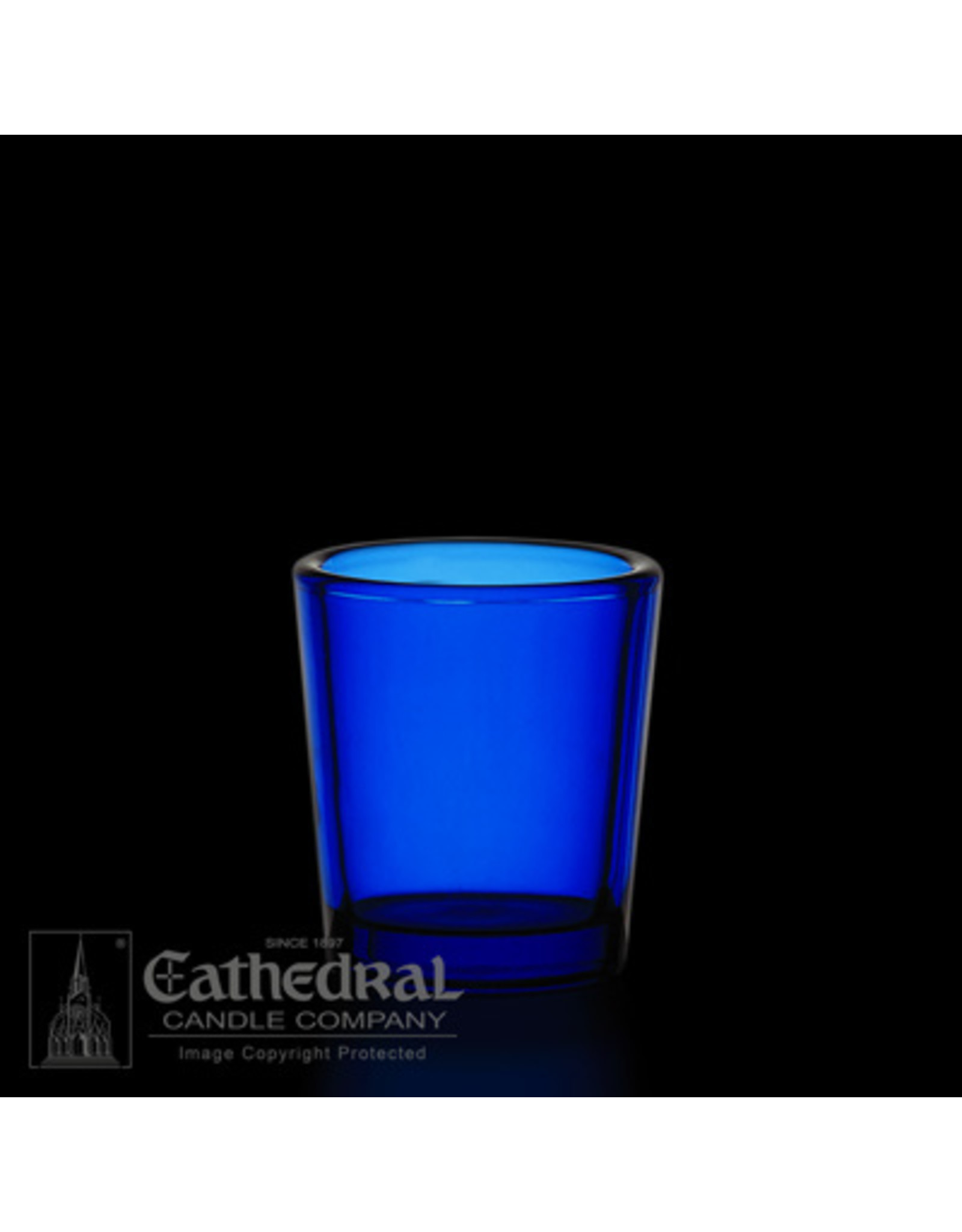 CNDL GLASS VOT 15 HR BLUE (12)