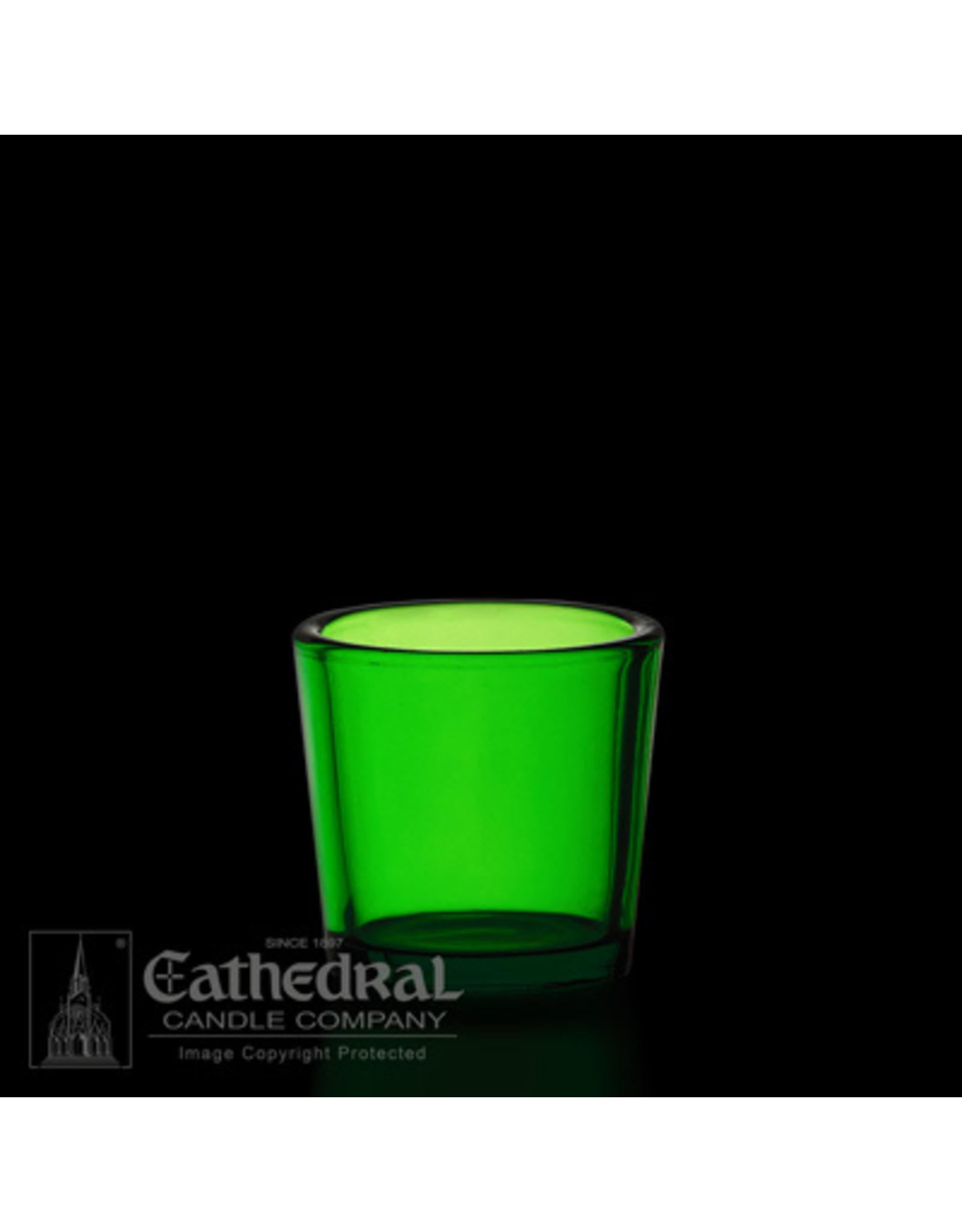 CNDL GLASS VOT 10 HR GREEN (12)