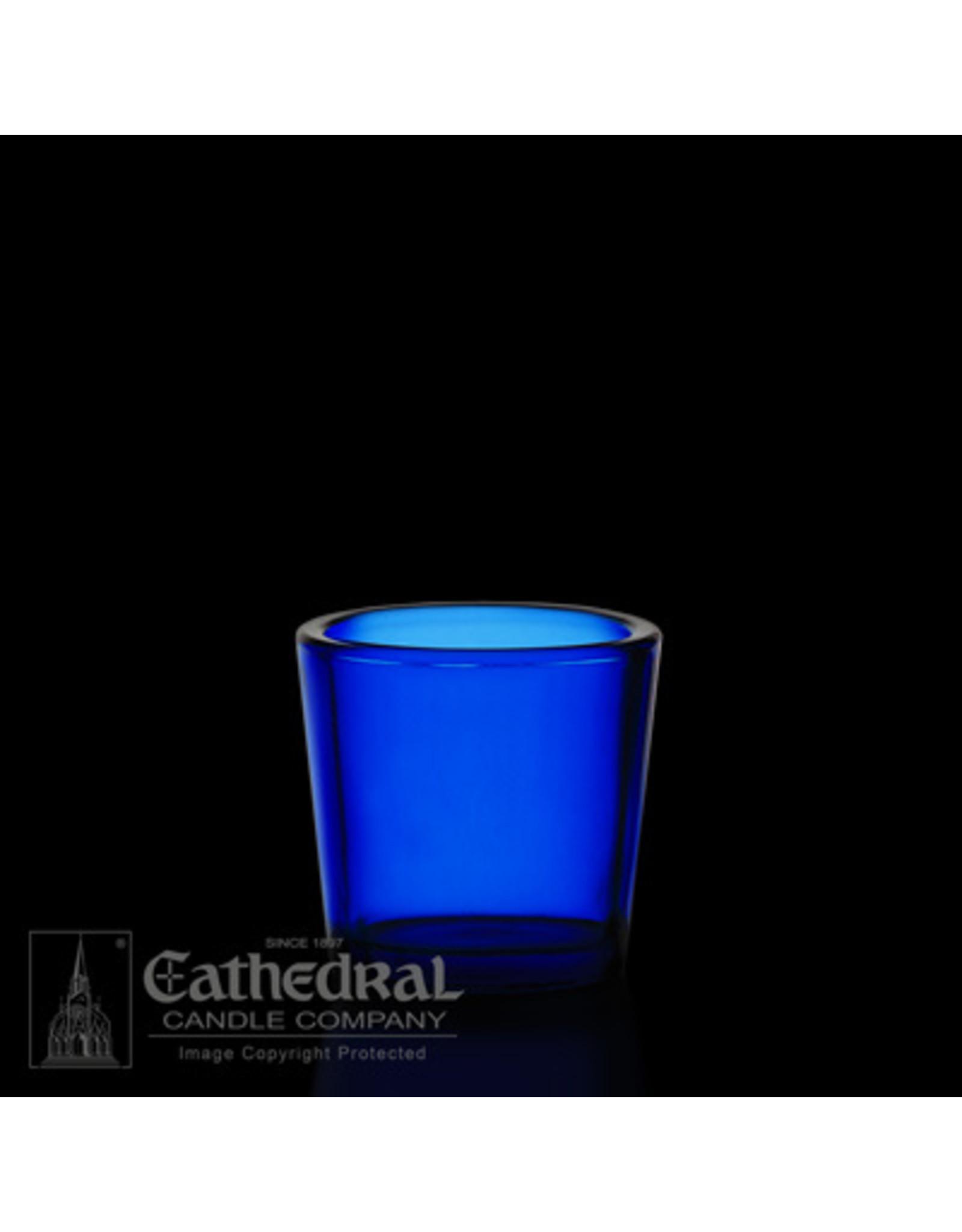 CNDL GLASS VOT 10 HR BLUE (12)