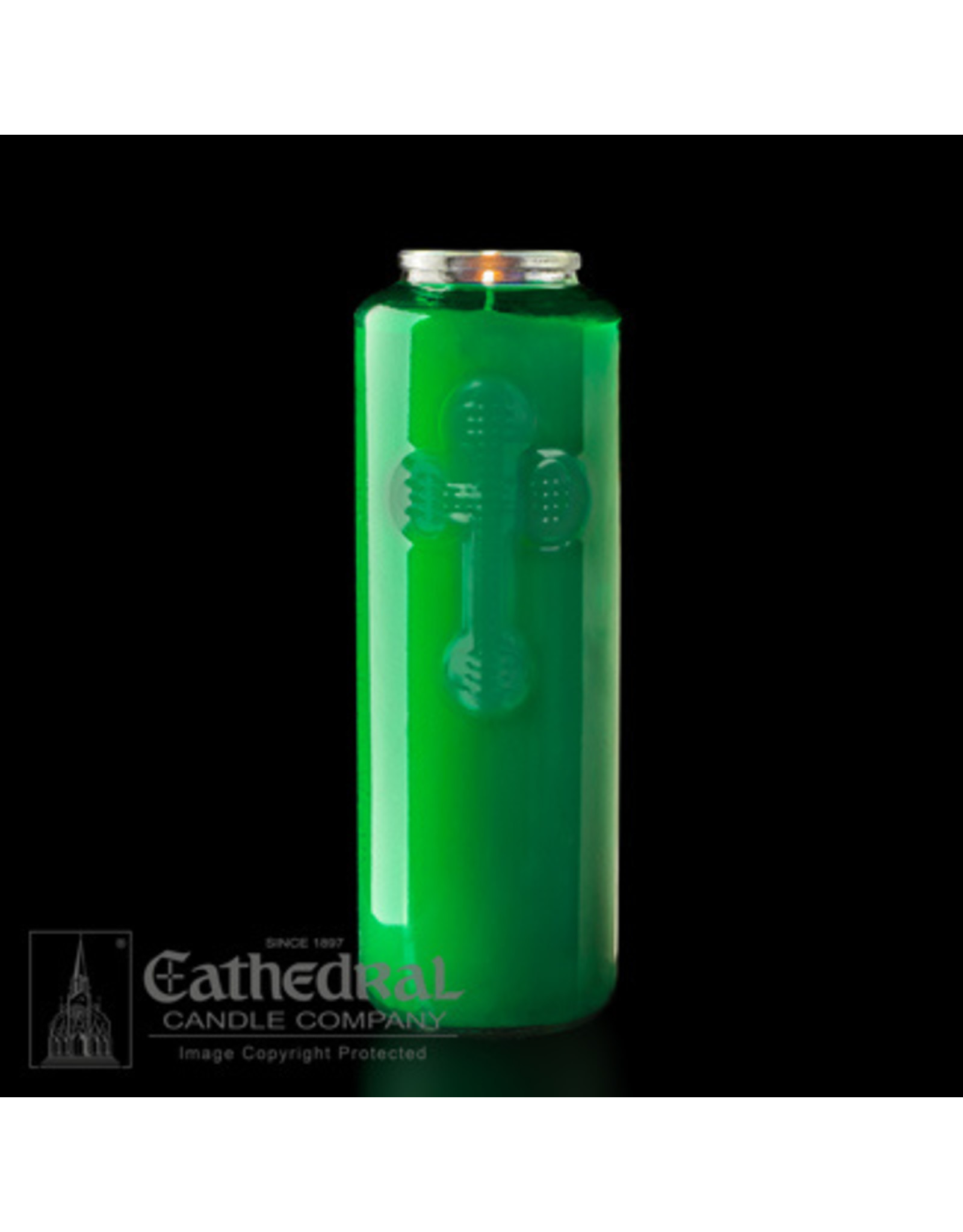 6-Day Green Glass Candle