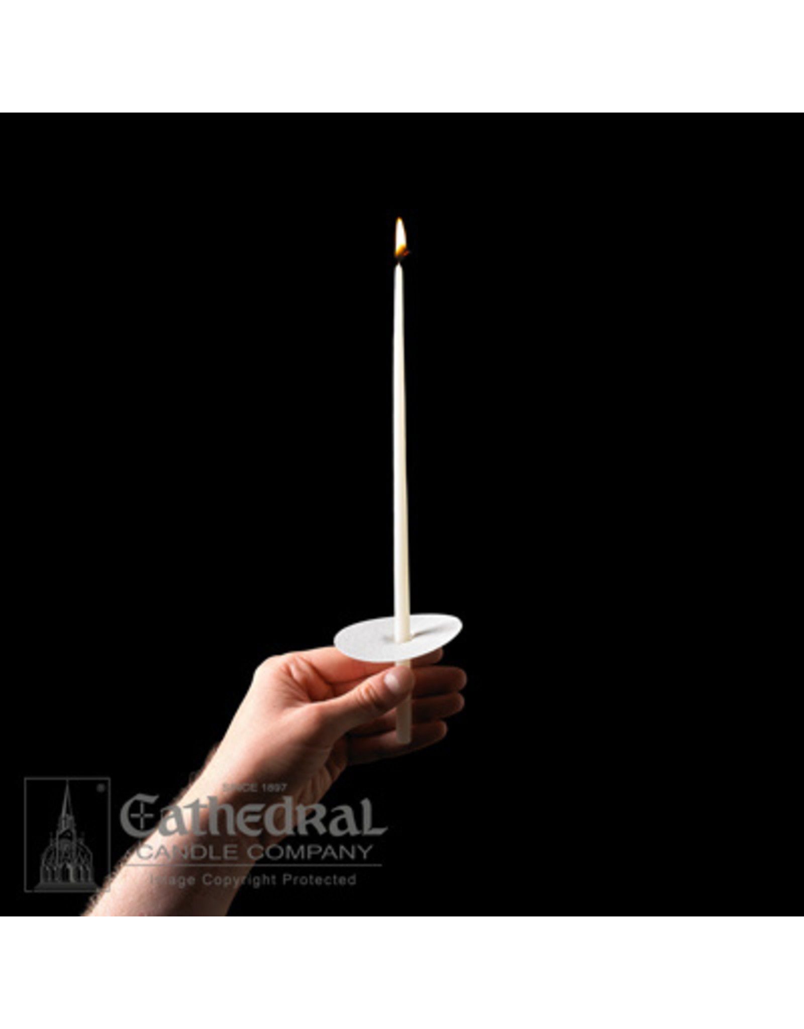 """Congregational Candles 11"""" Taper 51% Beeswax w/Paper Drip Protectors (100)"""