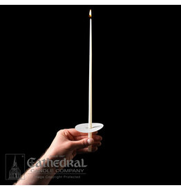 """Congregational Candles 14"""" Taper 51% Beeswax w/Paper Drip Protectors (100)"""