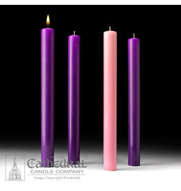 51% Beeswax Advent Candles 1.5x16 (3 Purple, 1 Rose)