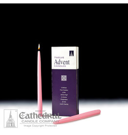"""Advent Taper Candles - 12"""" (Rose) (Box of 12)"""